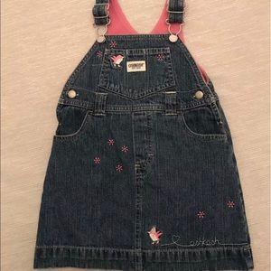 Vtg Girls Oshkosh Jean Bib Dress Easter